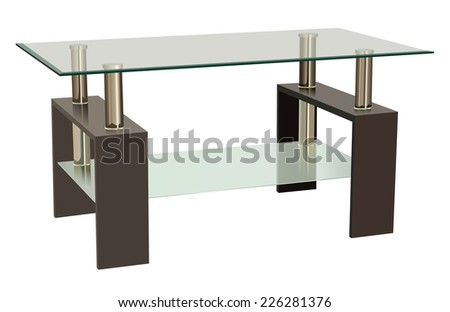 Vector Glass and Wood Combination Living Room Table - stock vector