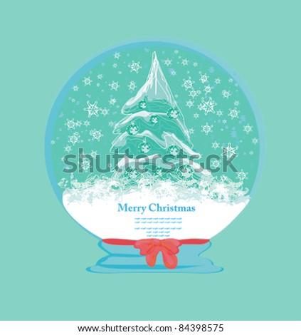 Vector glass ball with abstract christmas tree - stock vector