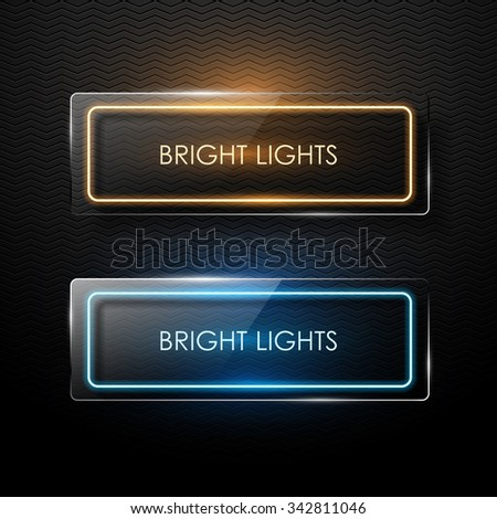 Vector glass banner with neon glowing. - stock vector