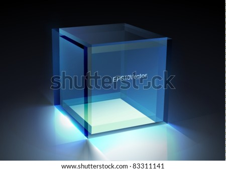 Vector glass - cube illustration - stock vector