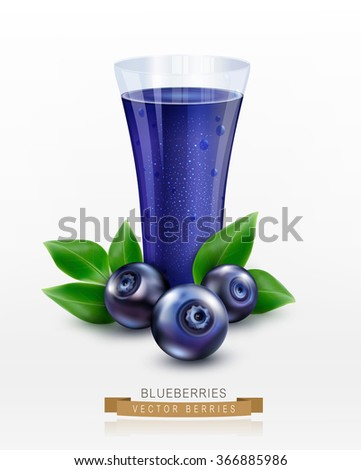 Vector glass cup with juice of blueberries isolated on white background - stock vector
