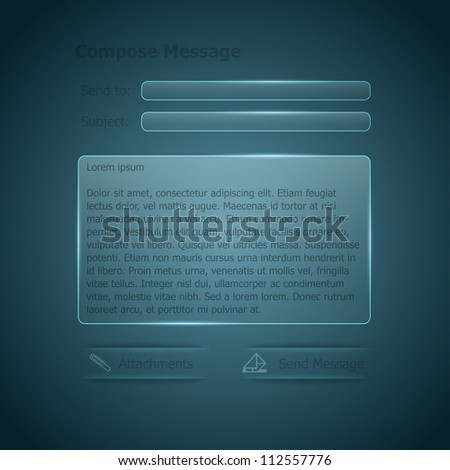 Vector glass e-mail form for the web - stock vector