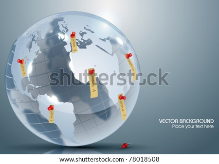Vector Glass Globe with Office Markers - stock vector