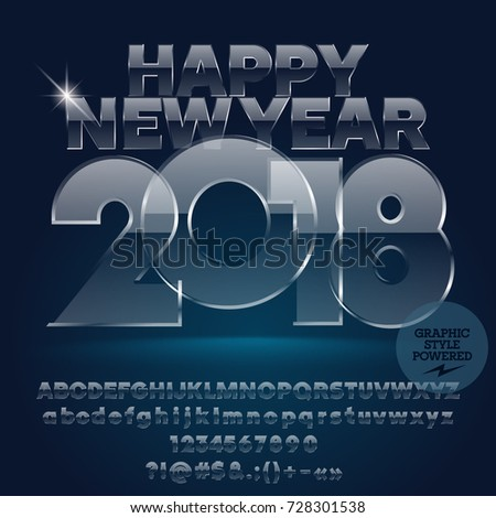 vector glass happy new year 2018 greeting card with set of letters symbols and numbers