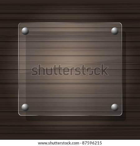 Vector glass on wood - stock vector