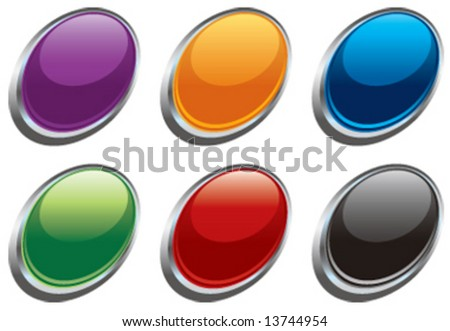 Vector glass oval buttons - stock vector