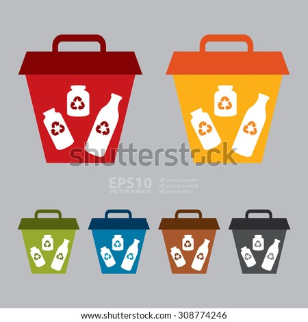 Vector : Glass Recycle Bin Infographics Flat Icon, Sign - stock vector