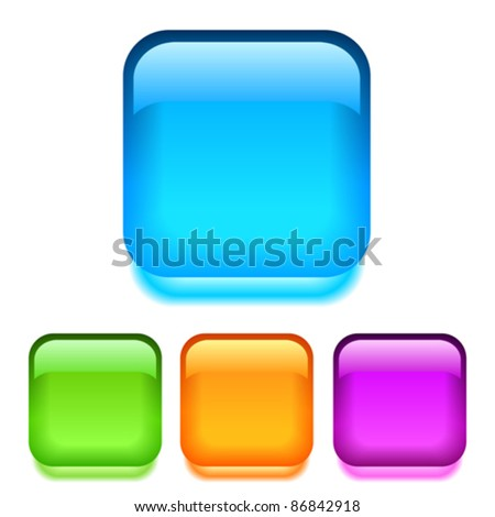 Vector glass square buttons, eps10 illustration - stock vector