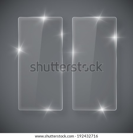 Vector glass tall shiny frame banners on gray background - stock vector