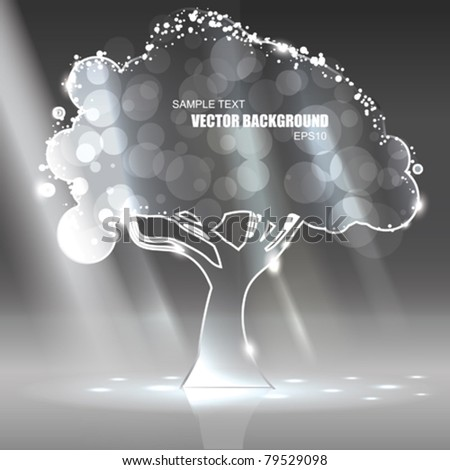 Vector Glass Tree with Light rays - stock vector