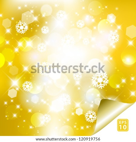 Vector glittery golden abstract Christmas background. - stock vector