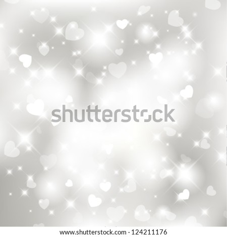 Vector glittery lights silver Valentine's day background from hearts. - stock vector