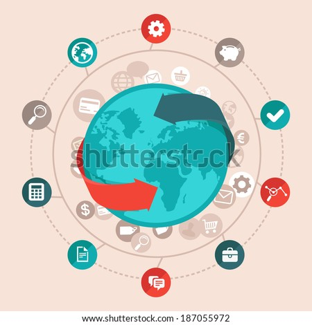 Vector global business concept in flat style - worldwide network and online communication icons and signs - stock vector