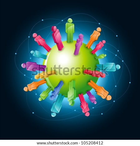 Vector global community concept illustration. Elements are layered separately in vector file. - stock vector