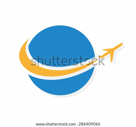 Vector globe and airplane logo or icon - stock vector