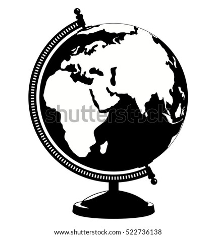 Vector Globe Icon Black And White