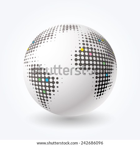 vector globe icon with dots - stock vector