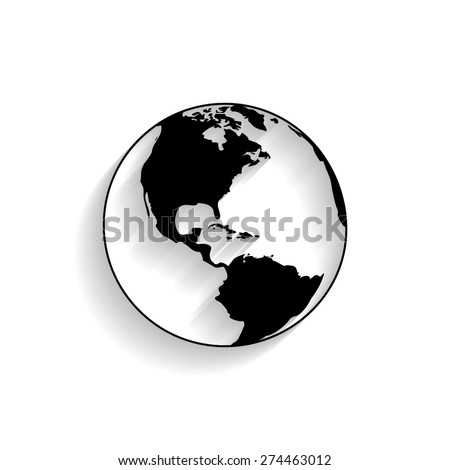 Vector globe icons with shadow