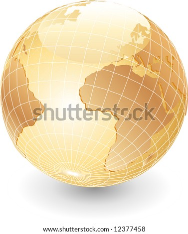 vector globe in pearl colors - stock vector