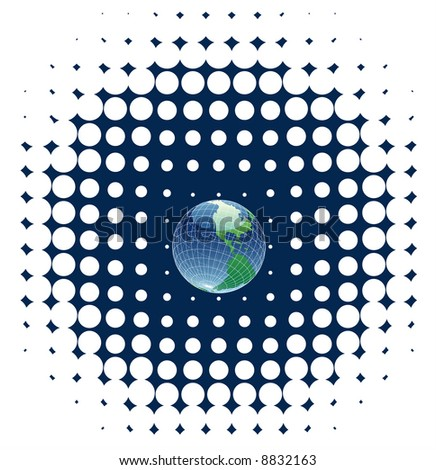 vector globe on dots background - stock vector