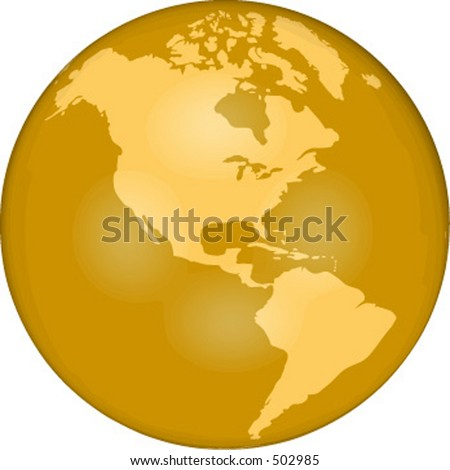 vector globe showing western hemisphere