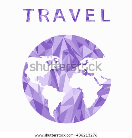 Vector globe sphere, map design. Travel. Abstract background . World map background in polygonal style. A stylized map of the world of purple triangles.Info graphic,icon   - stock vector