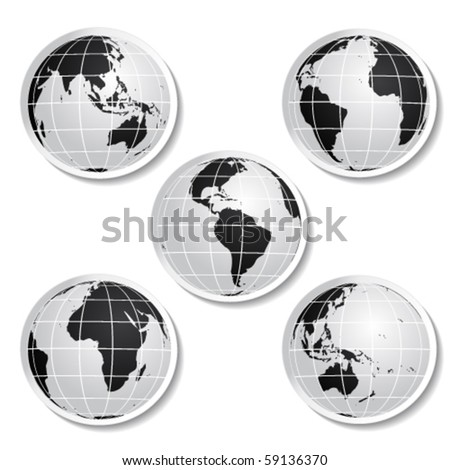 Vector globe stickers - stock vector