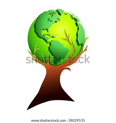 Vector - globe tree - stock vector