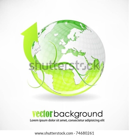 vector globe with arrow