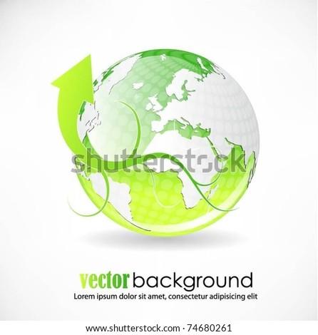 vector globe with arrow - stock vector