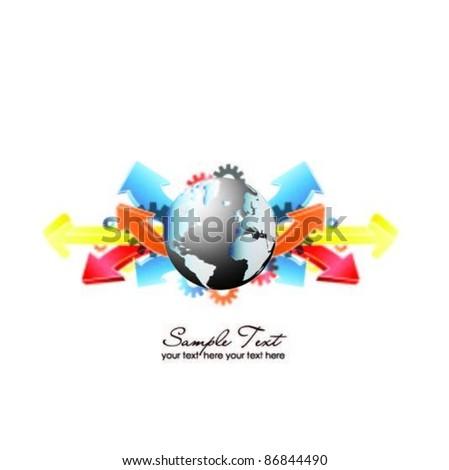 vector globe with arrows-concept design - stock vector