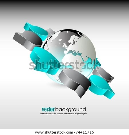 vector globe with 3d speech bubbles - stock vector