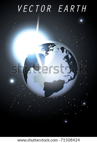 Vector Globe with Sun - stock vector