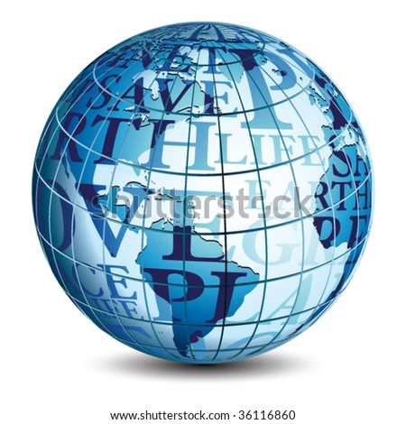 Vector Globe with text