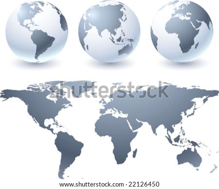Vector globes and atlas map - stock vector