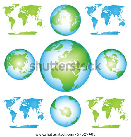 Vector Globes and Maps Collection Clip art - stock vector