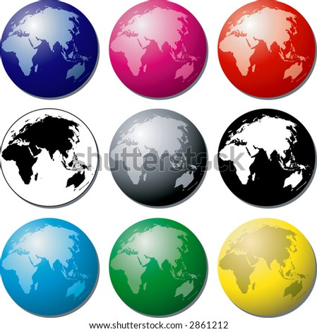 Vector globes of the Earth - East - stock vector