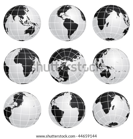 Vector globes - various turn - stock vector