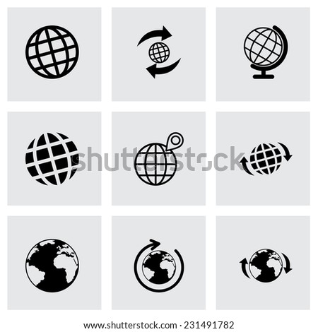 Vector glode icon set on grey background