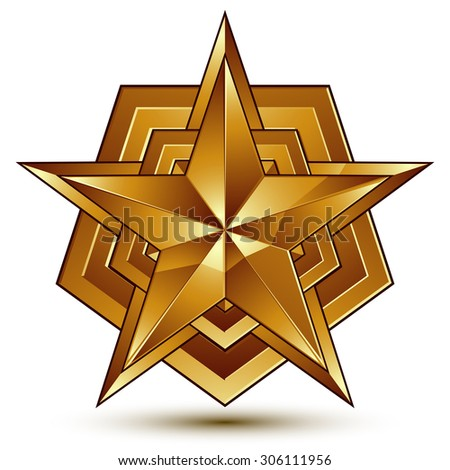 Vector glorious glossy design element, luxury 3d golden star, conceptual graphic template, clear EPS 8. - stock vector