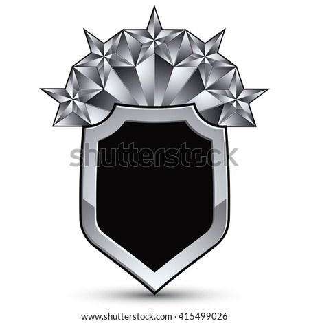 Vector glorious glossy design element with luxury 3d silver star, silvery conceptual graphic template, shield. - stock vector