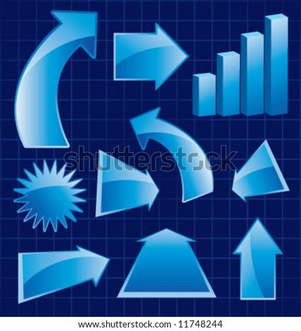 Vector glossy assortment of arrows - stock vector