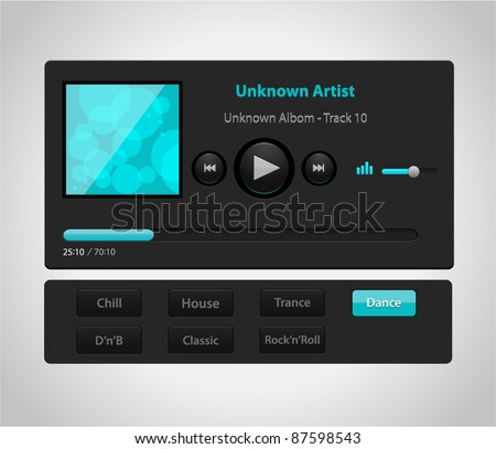 Vector glossy audio player with control navigation panel - stock vector