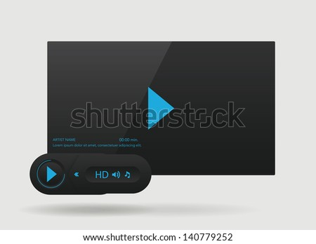 Vector glossy audio players design with different control navigation panel - stock vector