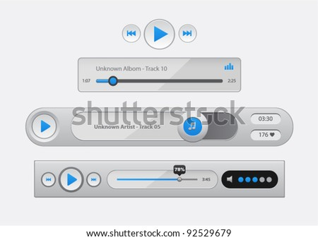 Vector glossy audio players with different control navigation panel - stock vector
