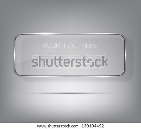 Vector glossy banner with silver metal / metallic frame, shiny glass - stock vector