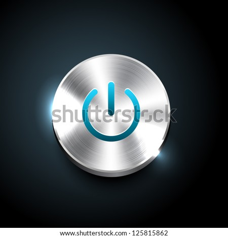 Vector glossy brushed metal silver power button - blue - stock vector