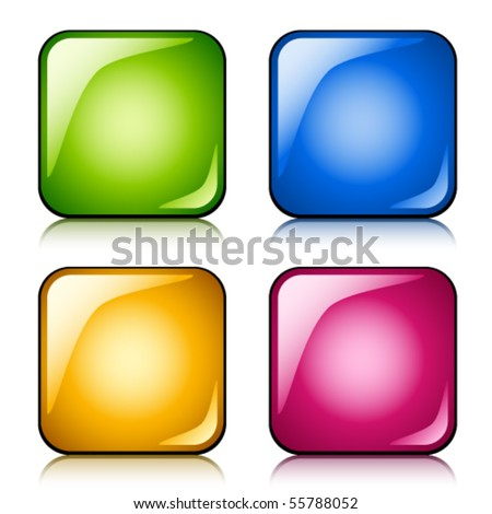 vector glossy buttons - stock vector