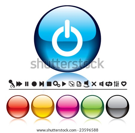 Vector glossy Buttons and Icons for Web Applications. - stock vector