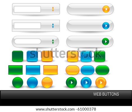 Vector glossy buttons for web design. - stock vector